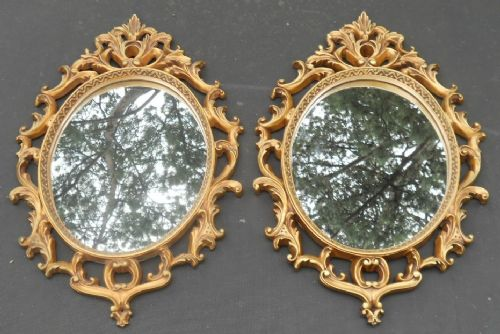 Pair Ornate Gilt Framed Hanging Wall Mirrors